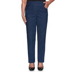 Alfred Dunner Women's Denim Friendly Superstretch Denim Proportioned Short Jean - Petite Size, Denim, 8 Petite