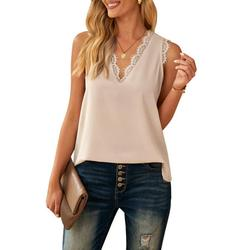 Dokotoo Women's Casual V Neck Blouse Apricot Lace Trim Boho Tee Shirt Lightweight Vest Tops Loose Tank Top Sleeveless Holiday Beach Solid T-Shirt Chiffon Summer Cami for Women Small 4 6