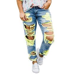 Plus Size Casual Jeans Sexy Ripped Denim Trousers for Women with Pocket Mid Waist Destroyed Hole Faded Jeans for Ladeis Junior Womens Skinny Jeans