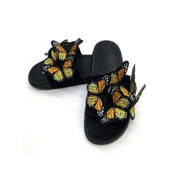 Daeful Women Butterfly Slippers Sliders Slip On Casual Shoes Summer Flats Beach Sandals Women's Fashion Slippers Flat Heel Sandals Backless Casual Shoes Butterfly Decor