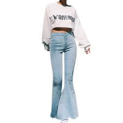 Plus Size S-3XL Women Denim Flare Jeans Skinny Pants High Waist Stretch Jeans Lady Vintage Wide Leg Pencil Jeans Women Casual Jeans