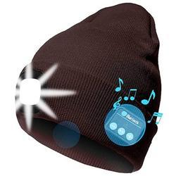 Jocestyle LED Beanie Hat, Men Women Wireless Bluetooth Beanie Knitted Hat (Coffee)