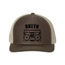 Brooklyn Hat, BKLYN, Boombox Hat, Retro Hat, Trucker Hat, Brooklyn Snapback, New York Hat, Adjustable Cap, Bklyn Hat, 90's Hat, Black Text, Brown/Khaki