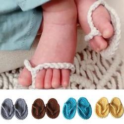SPRING PARK New handmade crochet baby girl sandals flip flops booties shoes Photo Props