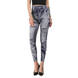 Women High Waist Tummy Control Fake Ripped Jean Leggings Seamless Stretchy Skinny Pencil Pants Trousers Ladies Slim Fit Full Length Pants
