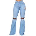 UKAP Skinny Ripped Bell Bottom Jeans for Women Classic High Waisted Flared Jean Pants Knee Ripped Fitted Destroyed Flare Denim Jeans