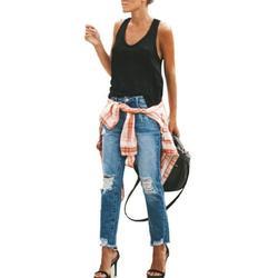 Hight Waist Ripped Denim Jeans Pant For Women Skinny Hole Denim Jeans Destroyed Slim Pants Trendy Jegging Jeans Pants