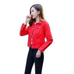 Boyfriend Jean Jacket Women Denim Jackets Vintage Long Sleeve Jacket Casual Slim Coat Candy Color Bomber Jacket Red L