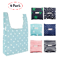 LNKOO 6 Pack Reusable Foldable Grocery Bags,Washable Shopping Tote Bag folded into Attached Pouch,Eco-Friendly Purse Bag, Waterproof,Washable, Durable,Lightweight