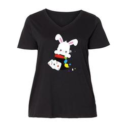 Inktastic White Bunny Coming Out Of A Hat, Magic Trick Adult Women's Plus Size V-Neck Female