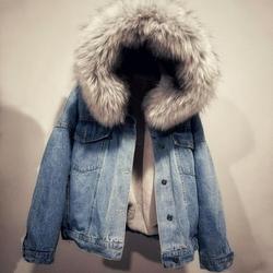 Women Winter Warm Denim Jacket Faux Fur Collar Casual Denim Trucker Jacket Coat New