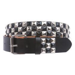 "Snap On 1 1/2"" Black & Silver Checkerboard Punk Rock Studded Belt"