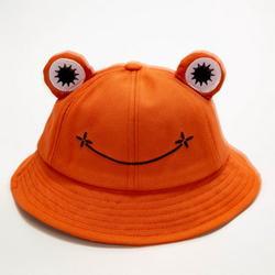 Frog Bucket Hat, Cute Fisherman Hat Cotton Sun Bucket Hat Sun Protection Cap Wide Brim Beach Summer Hat for Women Men Girls Kids (Orange)