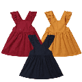 Cute Kids Baby Girls Dress Ruffle Cotton Suspender Skirt Overalls Party Clothes