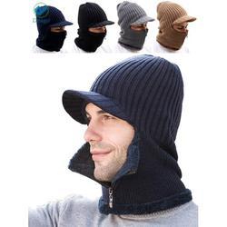 Deago Men Winter Knitted Balaclava Beanie Hat Scarf Set Warm Cycling Ski Mask Neck Warmer with Thick Fleece Lined Zipper Winter Hat & Scarf (Navy)