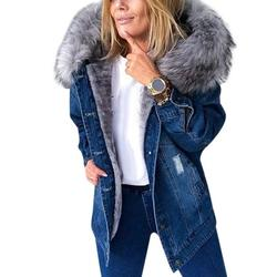 Stylish Parka Retro Plush Collar Denim Jackets Fashion Fleece Lined Warm Mid-Length Ripped Coat Women New