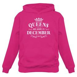Tstars Womens Birthday Gift for Women Queens Are Born in December Birthday Party B Day Women Hoodie