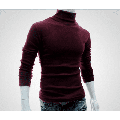 Puloru Fashion Mens Roll Turtle Neck Pullover Knitted Solid Casual Jumper Tops Tee Sweater