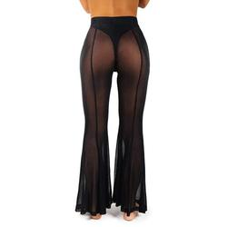 Gueuusu Women Cover Up Pants, Sheer Mesh Long Smock Bottoms, Beach Swimsuit Cover Up