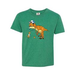 Inktastic 'King of the Coaches' Orange T-Rex Coach with player Tween Short Sleeve T-Shirt Unisex Retro Heather Green M