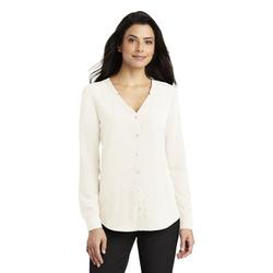 Port Authority Women's Long Sleeve Button-Front Blouse. LW700