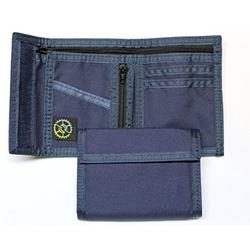 Nylon Bifold Wallet with Zippered Pockets (Navy)