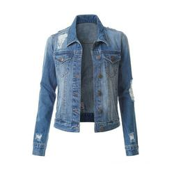 Women Long Sleeve Denim Jackets Button Down Ripped Hole Jeans Jacket Outwear Junior's Classic Denim Coat