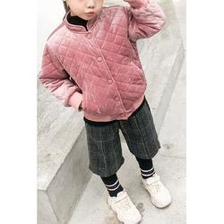 Kids Little Baby Girls Small Collar Quilted Jacket