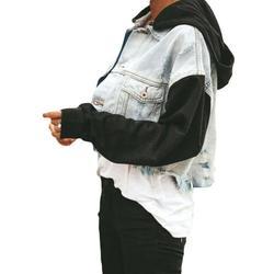Denim Detachable Hooded Jacket for Womens Long Sleeve Buttons Denim Coat Plus Size Cropped Denim Jackets Ladies Hip Hop Streetwear