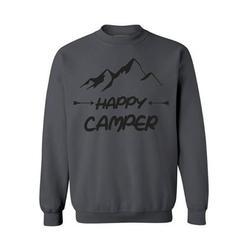 Awkward Styles Happy Crewneck Black Sweater Happy Camper Unisex Crewneck Camper Sweater for Men Happy Camper Crewneck for Women Camping Clothes Happy Camper Crewneck Campers Gifts Sweater for Camper