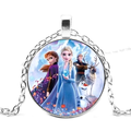 Frozen Characters Elsa Anna Kristoff Olaf Sven Silvertone Anti-Tarnish Pendant Necklace Jewelry J-202-B
