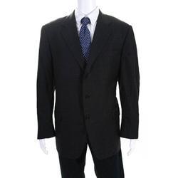 Pre-ownedHickey Freeman Mens Three Button Notched Lapel Blazer Gray Wool Plaid Size 42