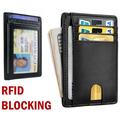 Minimalist Front Pocket RFID Blocking Faux Leather Slim Wallets for Men & Women, Front Pocket Wallet RFID Blocking ID Credit Card Holder Slim Men's Gift