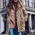 Winter Women Faux Fur Longline Coat Leopard Print Notched Collar Long Sleeve Jacket Parka Outerwear