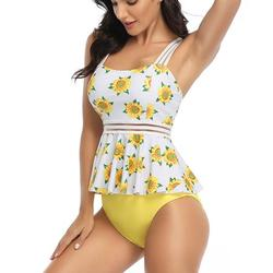 Women Ruffle High Waisted Bikini Two Piece Swimsuits Ruched Bathing Suit High Waisted Bathing Suits Beach Wear Swimming Suit