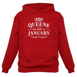 Tstars Womens Birthday Gift for Women Queens Are Born in January Birthday Party B Day Women Hoodie