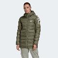 Adidas Women's W Essentials Light Down Hooded Parka, Legacy Green
