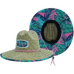 Woman's Sun Hat, Pink Palms Straw Hat with Fabric Pattern Print Lifeguard Hat, Beach, Ocean, Pool, Walking, and Outdoor, Summer Hat, Fits All, Malabar Hat Co