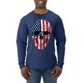Cracked American Flag USA Skull Americana / American Pride, patriotic Shirt, American Shirt, Patriotic Shirt, fourth of july shirt, American Flag, USA Mens Long Sleeve Shirt