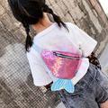 Aktudy Sequins Women Kids Waist Fanny Belt Packs Bling Fish Tail Chest Bags (Pink)