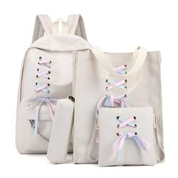 4pcs Canvas Backpack Travel Rucksacks Ribbon School Bag for Teenager Girls
