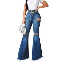 Qmmikk Women's Classic Flare Jeans Bootcut Bell Bottom Flared Ripped Denim Pants Womens Bootcut Flare Jeans Bell Bottoms Solid Denim