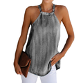 Loliuicca Women Halter Denim Vest Summer Sleeveless Casual Off-shoulder Backless Lace Tank Tops