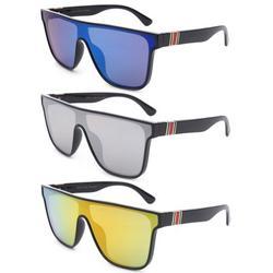 3 Packs Newbee Fashion One Piece Lens Square Vintage Rimless Large Frame Fashion Sunglasses for Women, Men, Junior Teen, Retro Flat Top Shield Design, Blue &Silver & Orange Flash Mirror