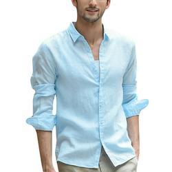 MIARHB Men's Baggy Cotton Linen Solid Long Sleeve Button Retro Turn-down Collar Shirts Long Sleeve Shirt Long Sleeve Shirt
