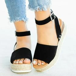Azrian Woman Summer Sandals Open toe Casual Platform Wedge Shoes Casual Canvas Shoes