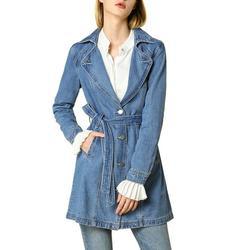 Allegra K Women's Jackets Notched Lapel Belted Long Jean Denim Jacket