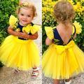 Toddler Baby Girls Summer Dress Sleeveless Backless Lemon Printed Bowknot Tutu Dresses Fashion Baby Girls Party Dresses Clothes