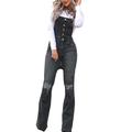 SySea Slim Fit Women Blue Denim Pants Knee Holes Denim Bibs Long Buttons Rompers Long Jeans