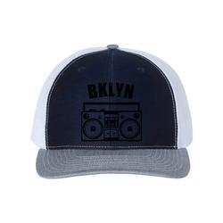 Brooklyn Hat, BKLYN, Boombox Hat, Retro Hat, Trucker Hat, Brooklyn Snapback, New York Hat, Adjustable Cap, Bklyn Hat, 90's Hat, Black Text, Navy/White/Heather